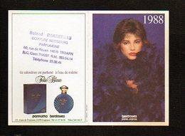 """1988 Calendrier De Poche Parfumé / Parfums Berdoues """"Folie Bleue """" Eau De Toilette / Coiffure R. Barreteau Troarn 14 - Calendars"""