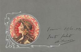 "0052 ""FIGURA FEMMINILE - ART NOUVEAU - IN RILIEVO E ARGENTO"" ANIMATA. CART  SPED 1902 - Cartes Postales"