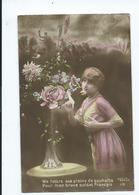Franch Hand Coloured Postcard Glamour Lady Letter For Soldiers   P.chene Paris On Active Service 1919 - Pin-Ups
