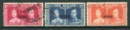 Niue 1936 King George VI Coronation Set Used (SG 72-74) - Niue