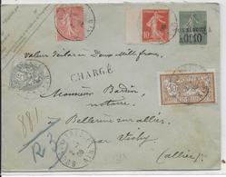 1906 - LETTRE CHARGEE (ENVELOPPE ENTIER SEMEUSE + MERSON + BLANC) De BOURG EN BRESSE (AIN) - 1877-1920: Période Semi Moderne