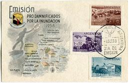 FDC EMISION PRO DAMNIFICADOS POR LA INUNDACION ANNO 1958  4/10/1958 DIA DE EMISION ARGENTINA - FDC