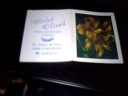 Calendrier Publicitaire De 1992 Mini  Carnet Fleuriste Michel Olivet A Lisle Adam Theme Fleur - Calendriers