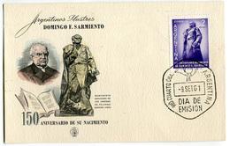 FDC 150 ANIVERSARIO DE SU NACIMIENTO ARGENTINOS ILUSTRES DOMINGO F. SARMIENTO DIA DE EMISION 09/09/1961 ARGENTINA - FDC