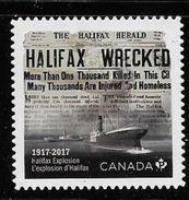 2017, CANADA, HALIFAX NOVA SCOTIA, EXPLOSION RESULT: 2000 DECEASED, 9000 HURTED, DEC 6, 1917. DIE CUTsingle From Booklet - Carnets