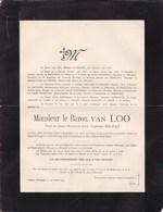 GAND EVERGEM Baron Van LOO Veuf MALFAIT 1812-1903 Faire-part Mortuaire De SALM-KYRBURG De PIERPONT - Décès