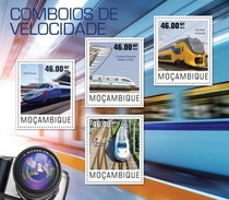 MOZAMBIQUE 2014 SHEET SPEED TRAINS TRENES DE ALTA VELOCIDAD TRAINS GRANDE VITESSE Moz14420a - Mozambique