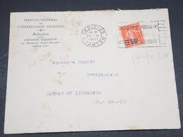 FRANCE - Type Semeuse Perforé LH Sur Enveloppe Commerciale De Paris En 1927 Pour Marsac En Livradois - L 18691 - Perforés