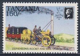 "Tanzania 1991 Mi 761 ** Stephenson's ""Rocket"" And Mail Coach (1838) - 150th Ann. Penny Black + Exhibition - Trains"