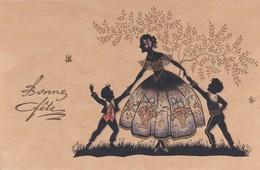 """SILOUHETTE . Femme à Robe - Panier Et Ses 2 Enfants """" Bonne Fête """" - Silhouettes"""