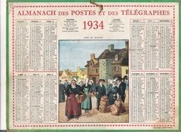 ALMANACH DES POSTES ET DES TELEGRAPHES / CALENDRIER DE 1934 / JOUR DE MARCHE ( Style Breton ) - Calendars