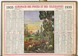 ALMANACH DES POSTES ET DES TELEGRAPHES / CALENDRIER DE 1935 / LA BERGÈRE ( Par LE GUIREC ) / Dép. SEINE & OISE - Calendars