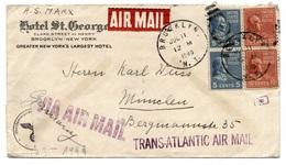Hotel St. George, Brooklyn - New York 1940 Nach München, Deutschland - Brief, Luftpost, Zensur, Ohne Inhalt - 1921-40