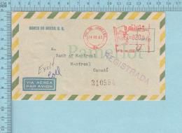 Brasil - Air Mail, Red Meter Stamp 1965, Commercial Envelope, Banco Do Brasil, Postmark REGISTRADA 310554 - Lettres & Documents