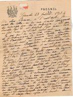 VP12.203  Lettre De Mme La Comtesse De LEUSSE à FILAIN Pour Mme La Comtesse De PERINI à Champfort  Près JALLIEU - Manuscrits