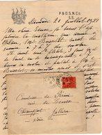 VP12.204 Lettre De Mme La Comtesse De LEUSSE à FILAIN Pour Mme La Comtesse De PERINI à Champfort  Près JALLIEU - Manuscripts