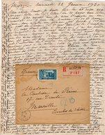 VP12.206 - Lettre De Mme La Comtesse De LEUSSE à MAZAGAN (Maroc ) Pour Mme La Comtesse De PERINI à MARSEILLE - Manuscripts