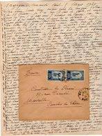 VP12.210 - Lettre De Mme La Comtesse De LEUSSE à MAZAGAN (Maroc ) Pour Mme La Comtesse De PERINI à MARSEILLE - Manuscripts