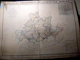 21 SAULIEU GRANDE CARTE 19 ° DU CANTON DE SAULIEU AVEC LES COMMUNES 1856  72 X 53 CM  BON ETAT DECORATIVE - Cartes Géographiques