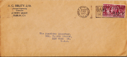Ireland 1949 Cover To USA Franked Scott #135 - 1937-1949 Éire
