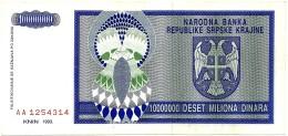 CROATIA ( KRAJINA - KNIN ) 10 000 000 Dinara - 1993 - R 12 - Used - Serbian Republic - Croatie Kroatien - 10000000 - Croatia