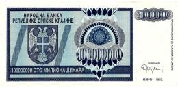 CROATIA ( KRAJINA - KNIN ) 100 000 000 Dinara - 1993 - R 15 - Used - Serbian Republic - Croatie Kroatien - 100000000 - Croatie