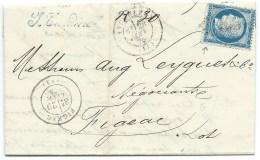 N° 60 BLEU CERES SUR LETTRE / ANGOULEME POUR FIGEAC LOT / 1875 / VARIETE ANGLE SUR EST - Postmark Collection (Covers)