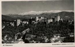 1952 , GRANADA , TARJETA POSTAL CIRCULADA , ALHAMBRA Y SIERRA NEVADA - Granada