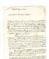 64 - ESCOT . NAVARRENX . LETTRE ADRESSÉE À MONSIEUR LE CHEVALIER DE ROBY LE 06 JUIN 1820 - Réf. N°96F - - Manuscripts