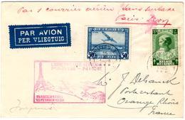 Lettre Par Avion De Bruxelles (15.02.1938) Pour Orange Vol Paris Nice_1er Courrier Aérien Sans Surtaxe - Poste Aérienne