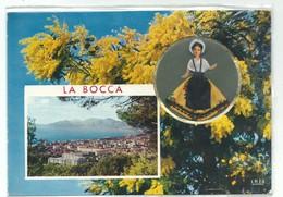 Carte Brodée Poupée MINIDOLL Provençale - LA BOCCA - Mimosa - Carte Parfumée VALLAZUR Voir Recto Echantillon Décollé - Brodées