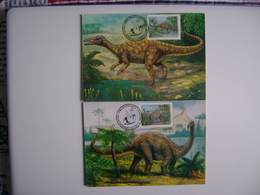 """BRAZIL - 2 MAXIMUNS MAXIMUM '' DINOSAURS SERIES """" IN THE STATE - Stamps"""