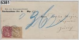 1877 Nachnahme 37-38/29-30 Zürich Aufgabe 13.II.77 (Med. Chir. Kantonalgeschellschaft) - 1862-1881 Helvetia Assise (dentelés)