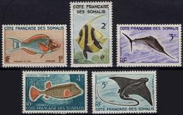 COTE DES SOMALIS Poste 292 à 296 * MLH Poisson Exotique Perroquet Hénioque Aigle Pique Coffre (CV 5 €) - Unused Stamps