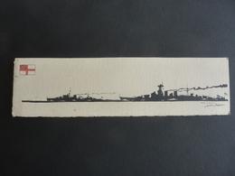 DESSIN Silhouette Encre De Chine  Marine Anglaise  / J. DALLOZ -Hood Cuirassé H.M.S & Neptune H.M.S Cuirassé (1909) - Bateaux