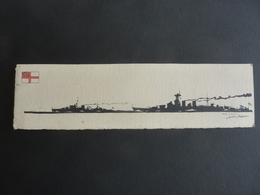 DESSIN Silhouette Encre De Chine  Marine Anglaise  / J. DALLOZ -Hood Cuirassé H.M.S & Neptune H.M.S Cuirassé (1909) - Drawings