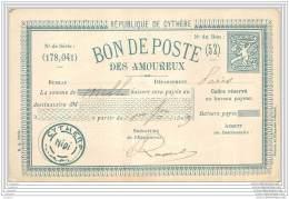 Bon De Poste Des Amoureux - Cheque Avec Entier Postal Factice - Republique De Cythere - Timbres (représentations)
