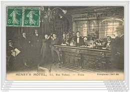 75002 - PARIS - Henry's Hotel 11 Rue Volney - Le Bar Comptoir - Arrondissement: 02