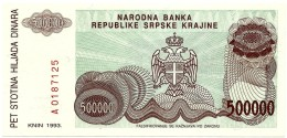 CROATIA ( KRAJINA - KNIN ) 500 000 Dinara - 1993 - R 23 - Unc. - Serbian Republic - Croatie Kroatien - 500000 - Croatia