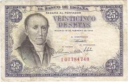 España - Spain 25 Pesetas 1946 Pick 130a Ref 1710 - [ 3] 1936-1975 : Regency Of Franco