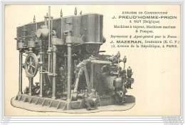 Belgique - Huy - Publicite  Machines A Vapeur, Marines Et Pompes Preud'homme Prion - - Huy