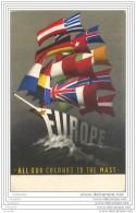 Belle Carte Postale EUROPA 1954 - Drapeaux Europeens Formant Le Mat Du Bateau EUROPE - Europäischer Gedanke