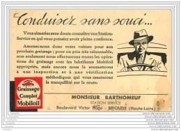 43 - BRIOUDE - Publicite Pour Huile Mobiloil A La Station Service Du Bd Victor Hugo - Brioude