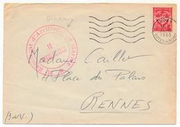Enveloppe Affr. FM Rouge - 11ème Régiment D'Artillerie De Marine / Le Vaguemestre / DINAN 1 - Franchise Militaire (timbres)