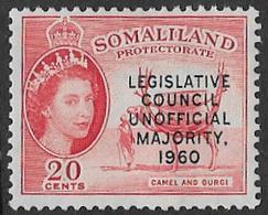 Somaliland Protectorate SG151 1960 Unofficial Majority 20c Mounted Mint [37/30919/2D] - Somaliland (Protectorate ...-1959)