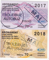 2017- 2018 , Moldova , Moldavie , Chisinau ,  Trolley  Bus  Tickets ,  Monthly Pass , Mai - Season Ticket
