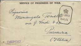 BIGLIETTO CAMPO PRIGIONIERI INDIA POW CAMP 25 YOL 1943 X PIACENZA - Military Mail (PM)