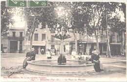 FR66 RIVESALTES - Brun 1047 - La Place Du Marché - Fontaine - Animée - Belle - Rivesaltes