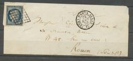 1850 Lettre N°4 25c Bleu Grille + CAD PARIS ES2 (60) Sup. Signée Potion X1742 - Marcophilie (Lettres)