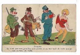 """Illustrateur  Charleno  -  2 Chasseurs , Gendarme  Et  Femme   -   """"  Enquiète   - C,est N,est Pas Moi..... """" - Humour"""